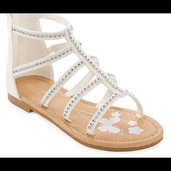 a6dafe1de5 Girls Sandals White Bling Crystal NEW Arizona